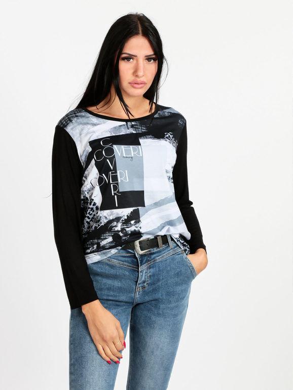 coveri maglietta donna con stampa t-shirt manica lunga donna nero taglia xl