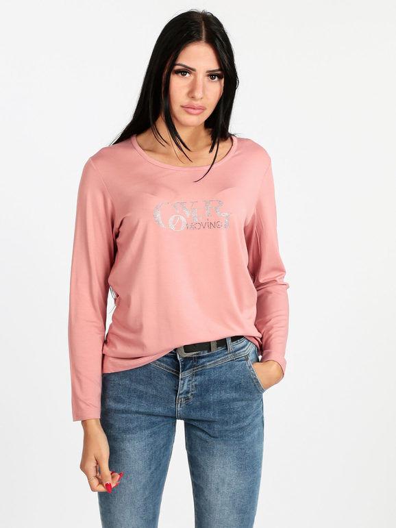coveri maglietta donna con strass t-shirt manica lunga donna rosa taglia s
