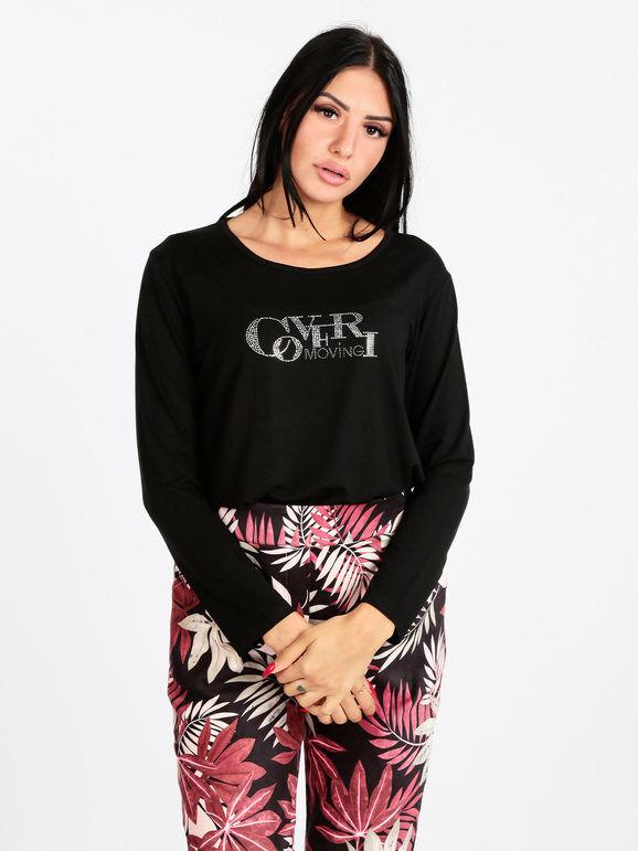 coveri maglietta donna con strass t-shirt manica lunga donna nero taglia xxl