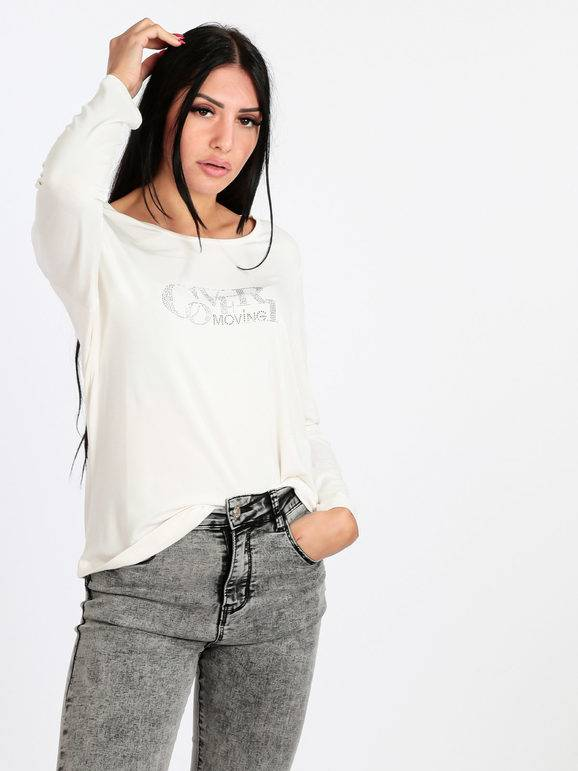 coveri maglietta donna con strass t-shirt manica lunga donna bianco taglia m