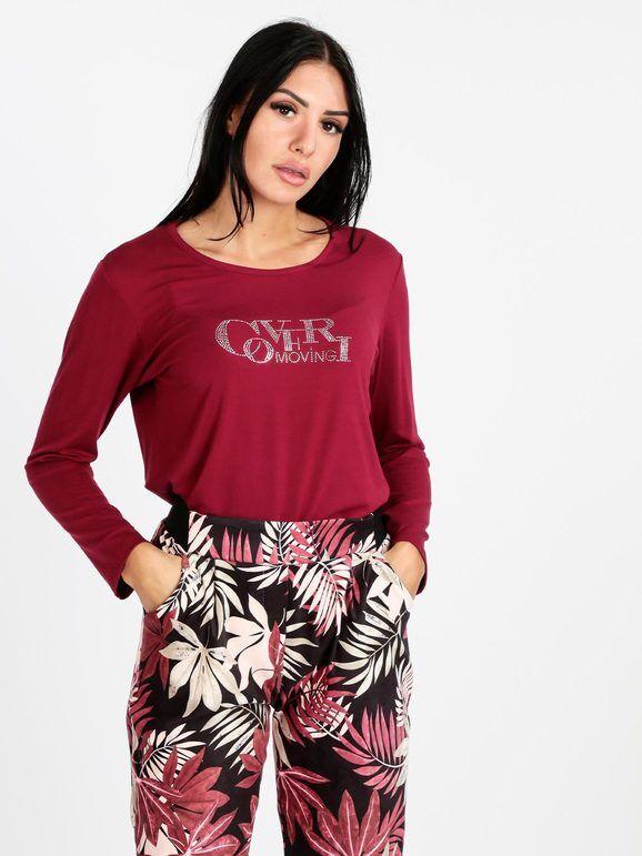 coveri maglietta donna con strass t-shirt manica lunga donna rosso taglia m