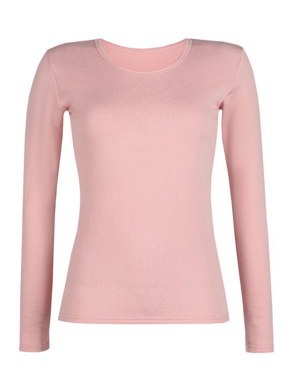 solada maglietta donna felpata t-shirt manica lunga donna rosa taglia m/l