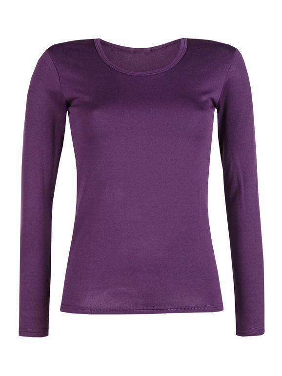 solada maglietta donna felpata t-shirt manica lunga donna viola taglia m/l