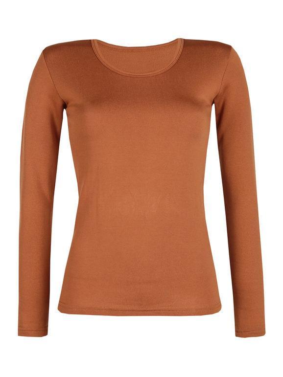 solada maglietta donna felpata t-shirt manica lunga donna marrone taglia xl