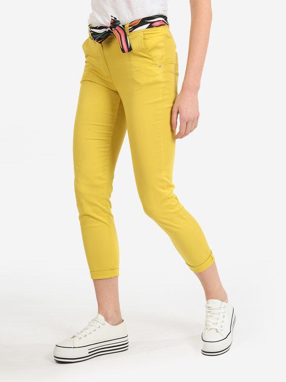 solada pantaloni donna in cotone con foulard pantaloni casual donna giallo taglia xl