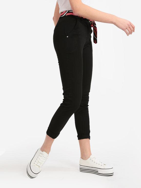 solada pantaloni donna in cotone con foulard pantaloni casual donna nero taglia m