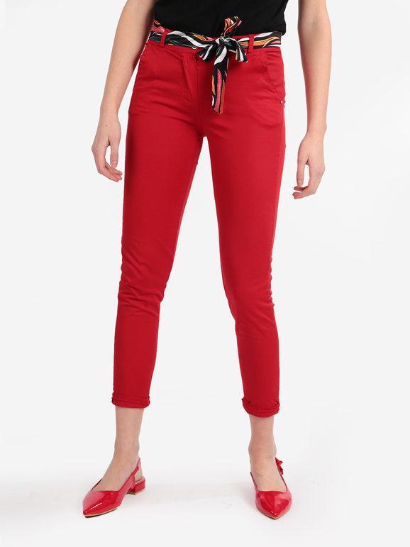 solada pantaloni donna in cotone con foulard pantaloni casual donna rosso taglia m