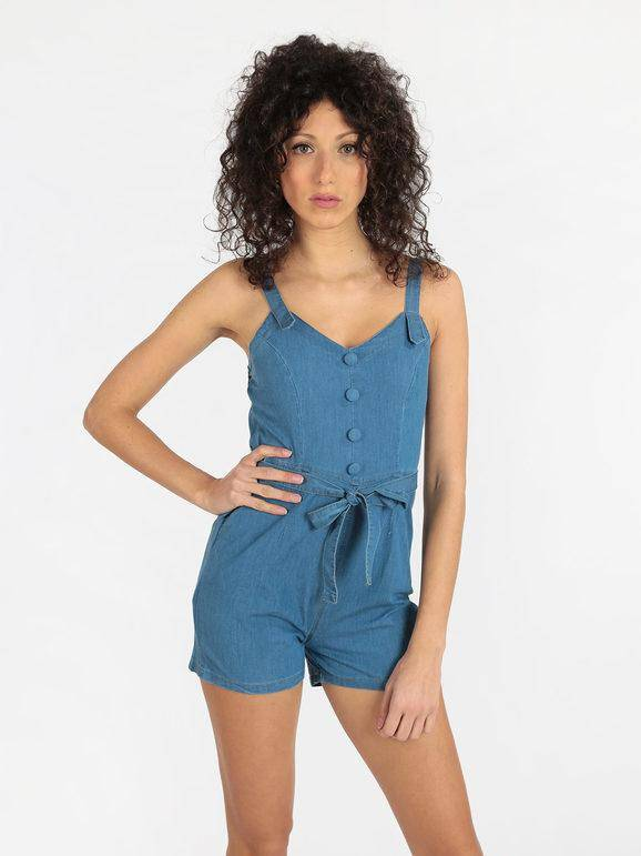 airisa tuta corta in jeans jumpsuit donna jeans taglia l/xl