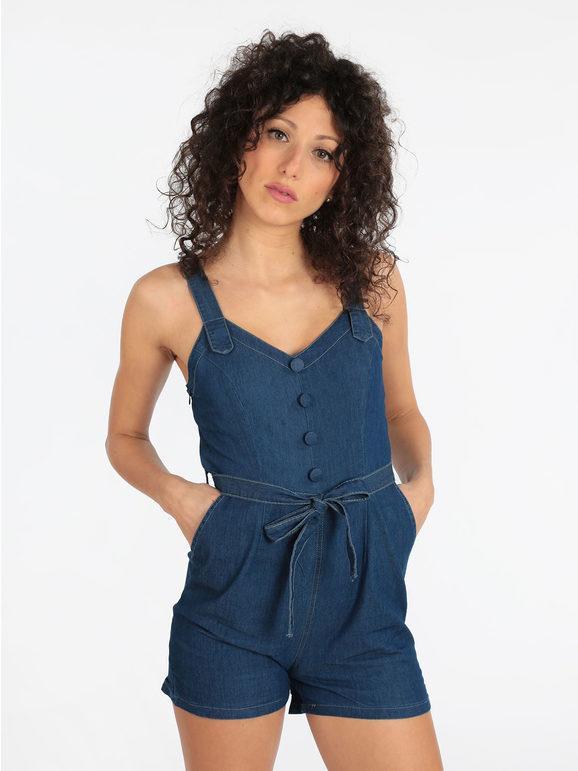 airisa tuta corta in jeans jumpsuit donna blu taglia l/xl