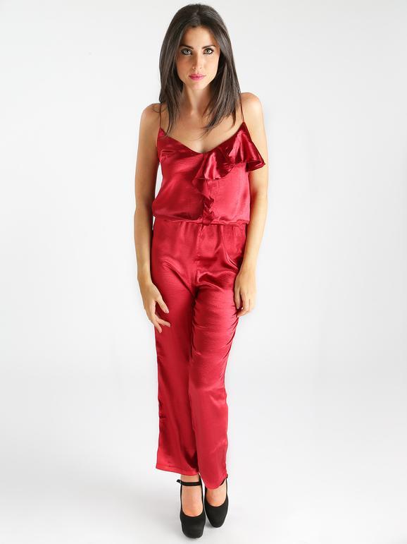 solada tuta intera con volant jumpsuit donna rosso taglia s