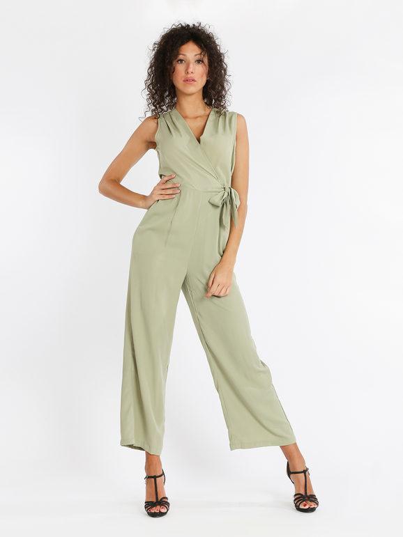 sweet tuta jumpsuit con scollo a v incrociato jumpsuit donna verde taglia s