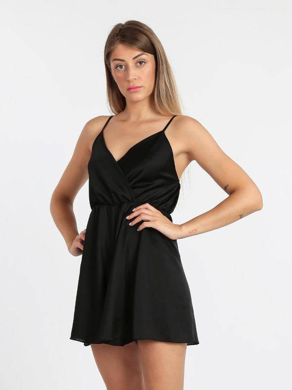 solada tuta jumpsuit corta effetto seta jumpsuit donna nero taglia unica