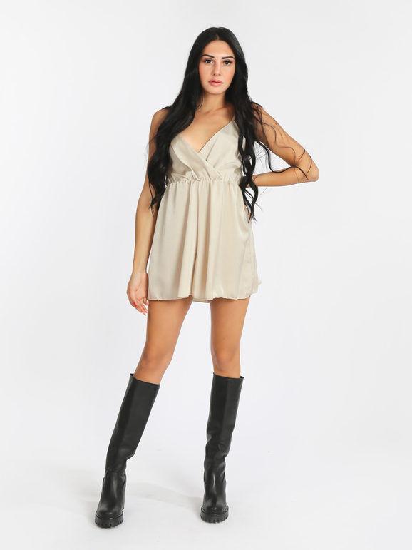 new collection tuta jumpsuit corta effetto seta jumpsuit donna beige taglia unica