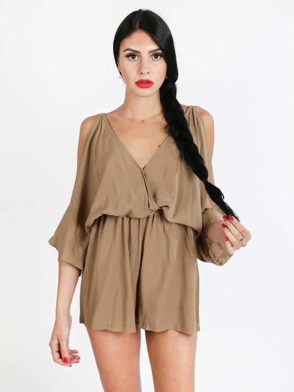 made in italy tuta jumpsuit corta jumpsuit donna marrone taglia unica