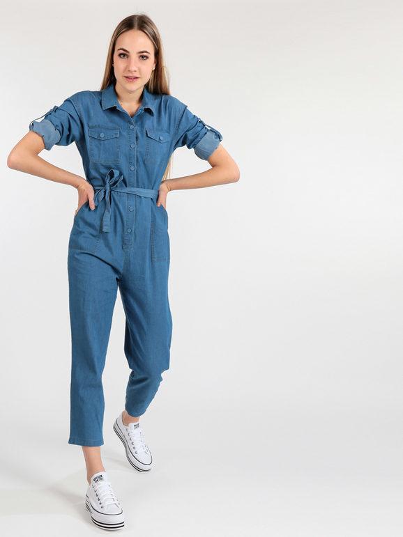 airisa tuta jumpsuit effetto jeans jumpsuit donna jeans taglia l/xl