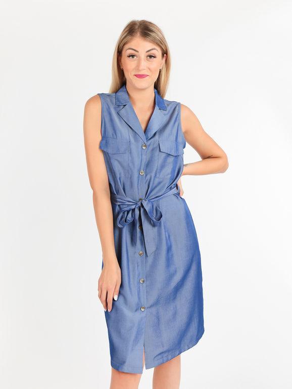 sweet abito a camicia smanicato lungo vestiti donna blu taglia l