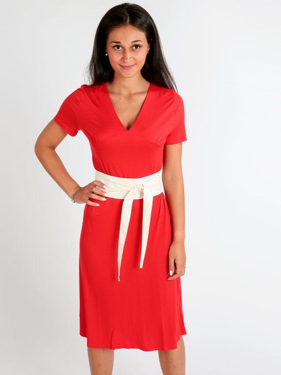 sweet abito lungo con maniche corte vestiti donna rosso taglia s