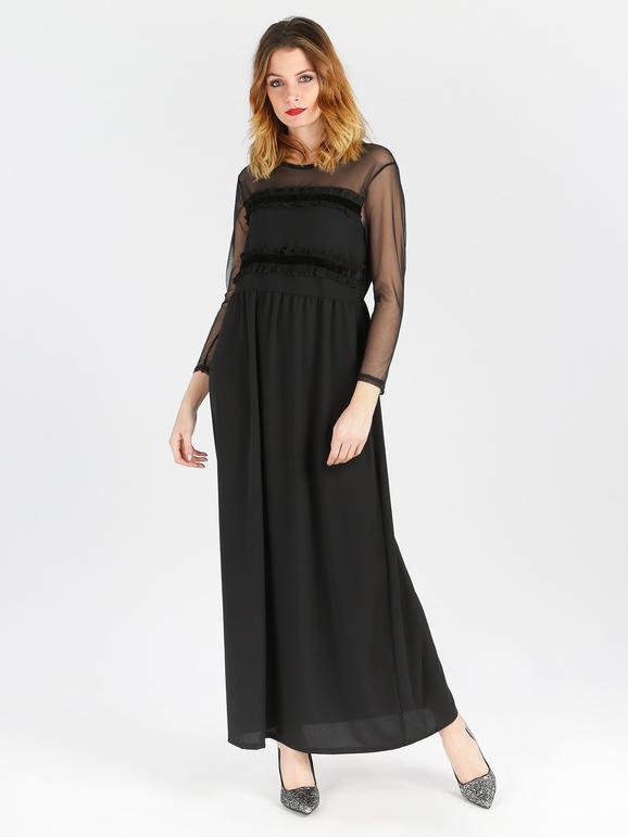 solada abito lungo con maniche velate vestiti donna nero taglia unica