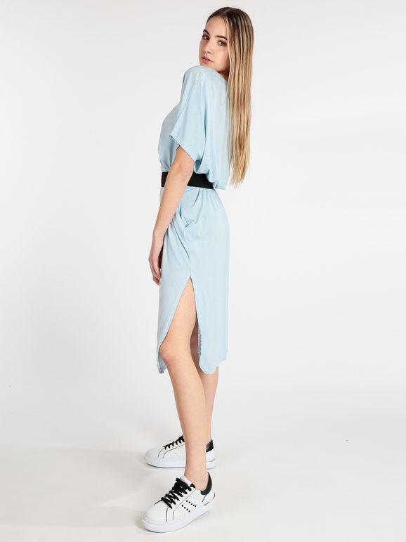 solada abito lungo con scollo a v manica corta vestiti donna blu taglia unica