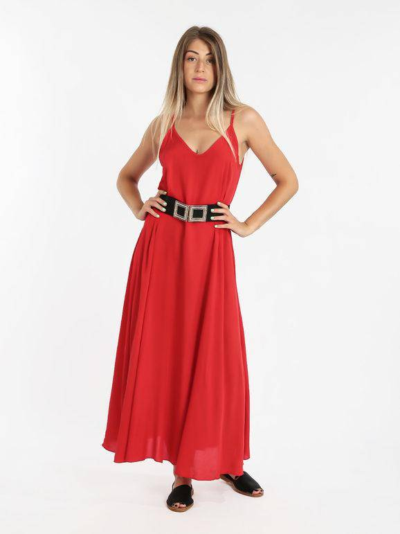 solada abito lungo donna smanicato vestiti donna rosso taglia unica