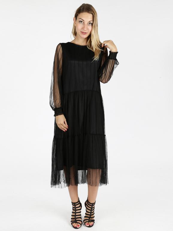 solada vestito in tulle lungo vestiti donna nero taglia s