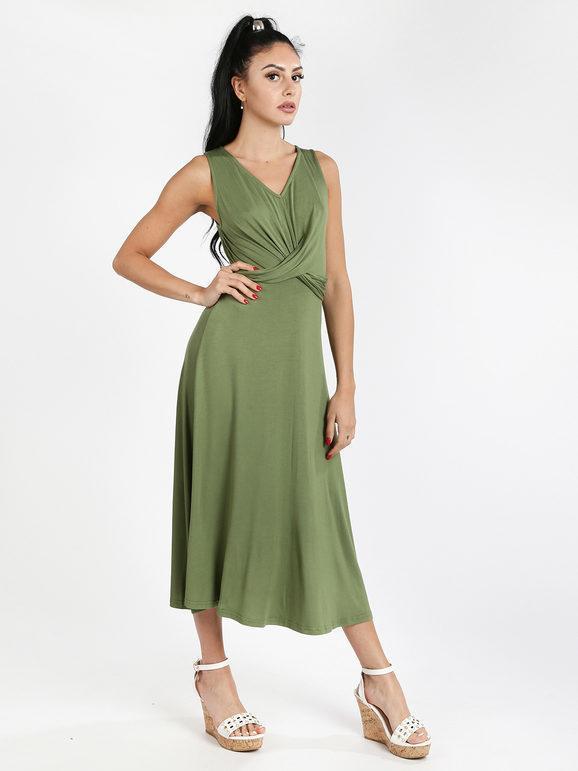 sweet vestito lungo smanicato vestiti donna verde taglia xl