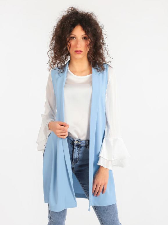 Solada Gilet lungo donna con spacchi Smanicato donna Blu taglia Unica