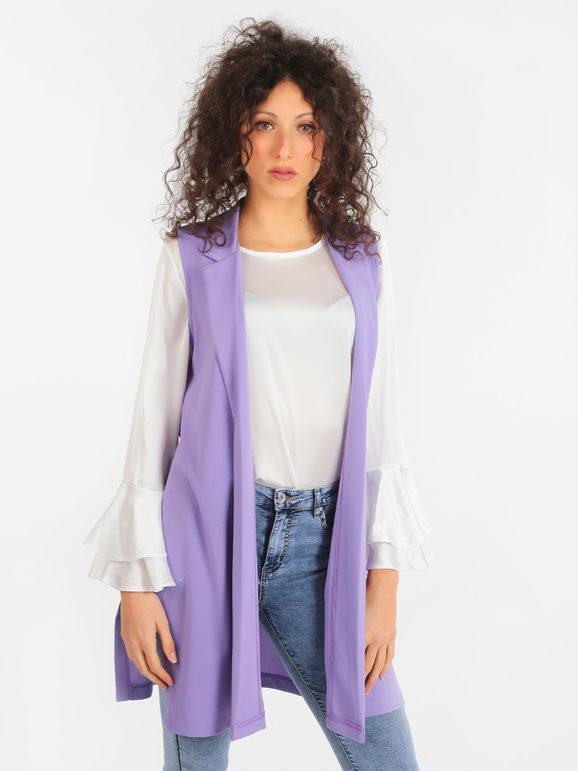 Solada Gilet lungo donna con spacchi Smanicato donna Viola taglia Unica