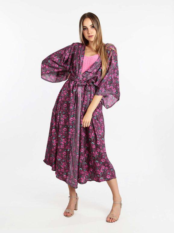 vintage girl Kimono stampato con apertura frontale Copricostume donna Viola taglia Unica
