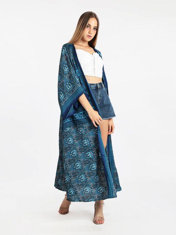 vintage girl Kimono stampato con apertura frontale Copricostume donna Blu taglia Unica