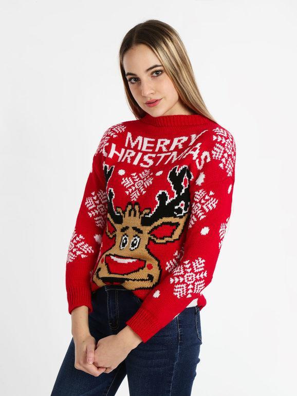 Solada Maglione natalizio con renna Maglioni donna Rosso taglia Unica