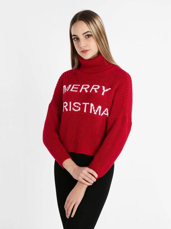 Solada Maglione natalizio corto dolcevita Maglioni donna Rosso taglia Unica