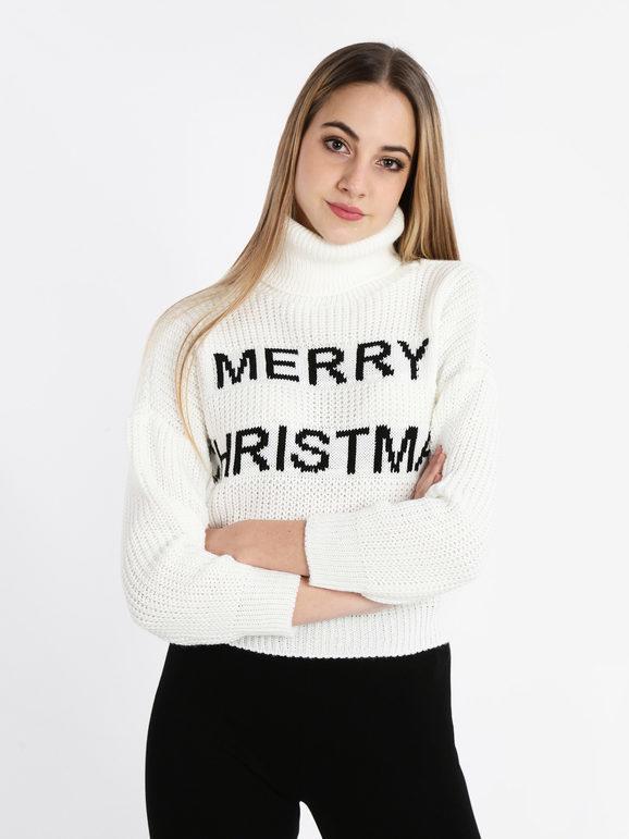 Solada Maglione natalizio corto dolcevita Maglioni donna Bianco taglia Unica