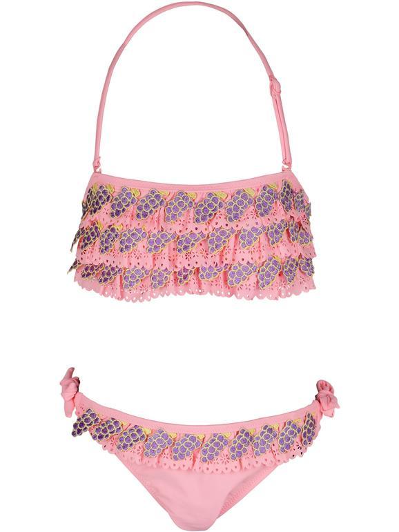 Hello Bikini Bikini a balze bambina moda mare bambina Rosa taglia 02