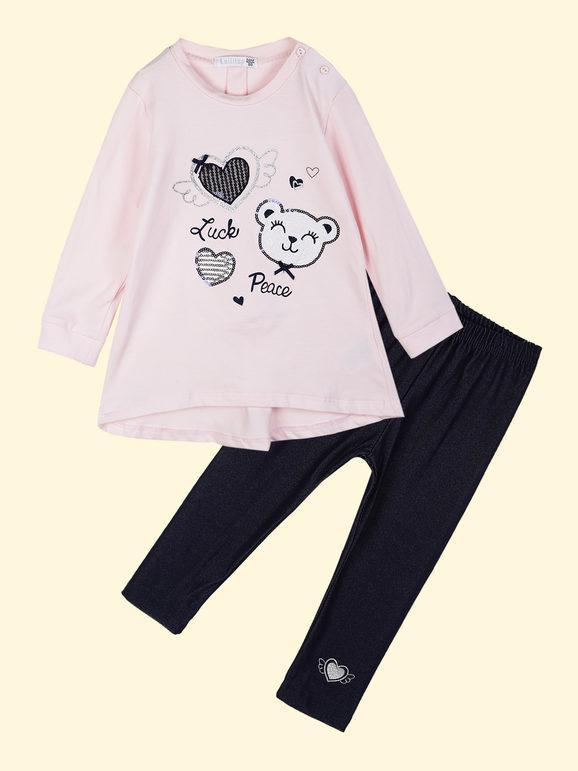 Lollitop Completo bambina 2 pezzi con t-shirt e jeggins Completi 12-36 M bambina Rosa taglia 30M