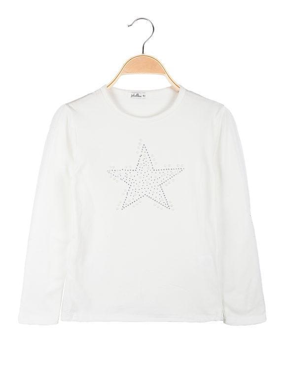 Jebellina Maglietta bambina con perle e strass T-Shirt Manica Lunga bambina Bianco taglia 16