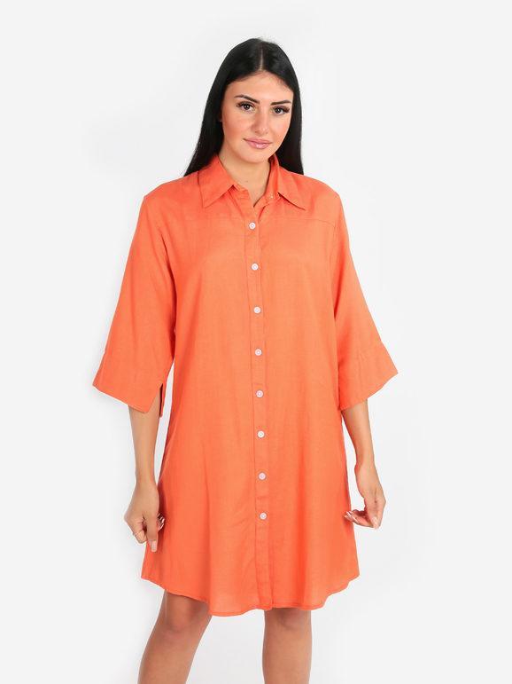 positano abito camicia misto lino con bottoni vestiti donna arancione taglia s/m