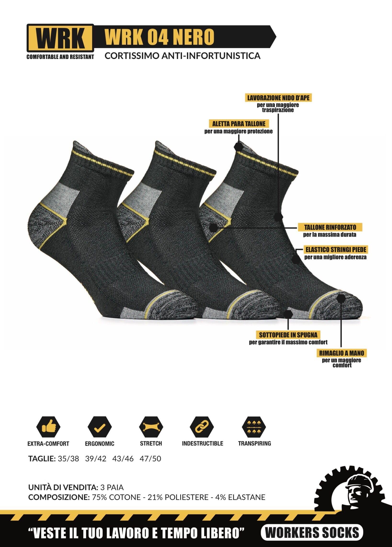 wrk 6 paia di calzini per scarpa antinfortunistica da lavoro corti