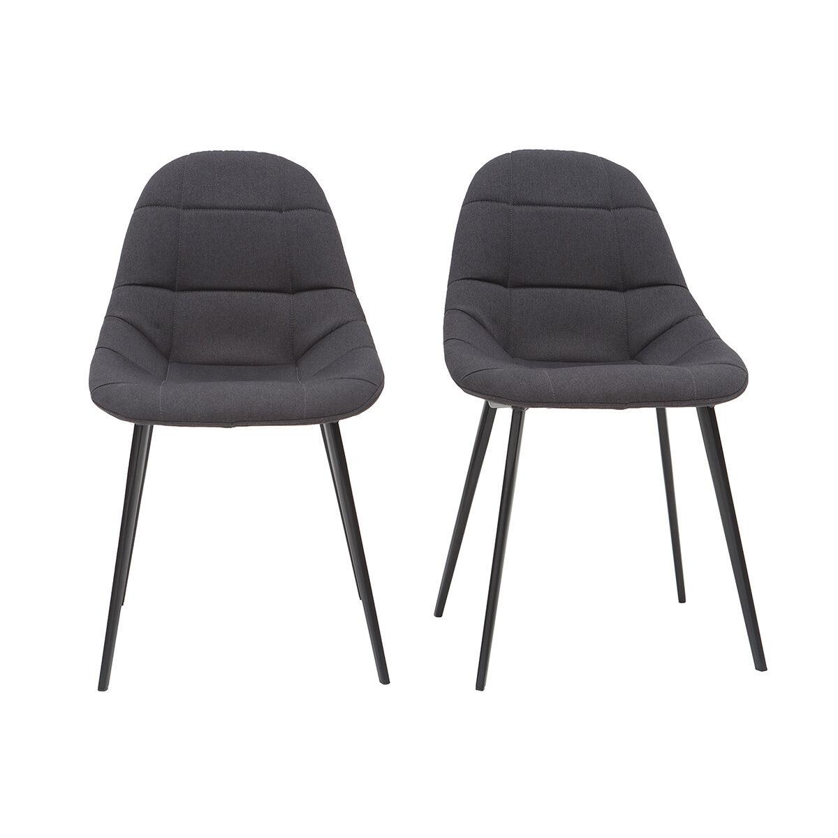 Miliboo Sedie di design in tessuto grigio scuro e metallo (set di 2) COX