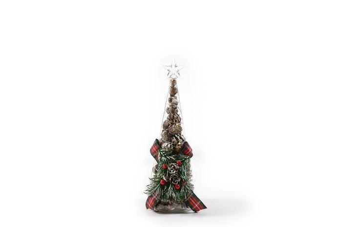 Mercury Nat.albero vetro c/decor/luci cm.24 38855