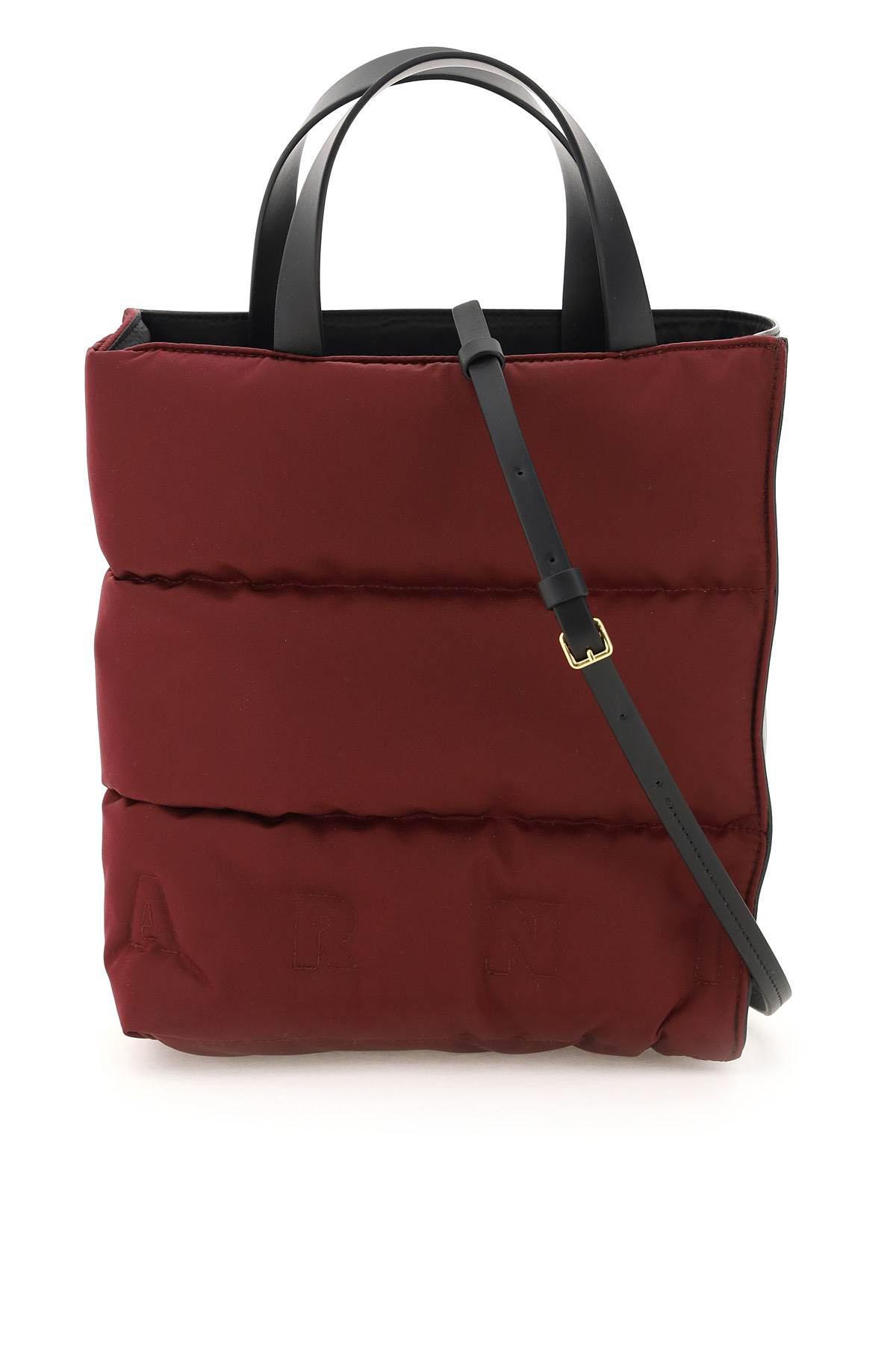 marni borsa museo soft piccola in nylon os rosso, nero tecnico, pelle