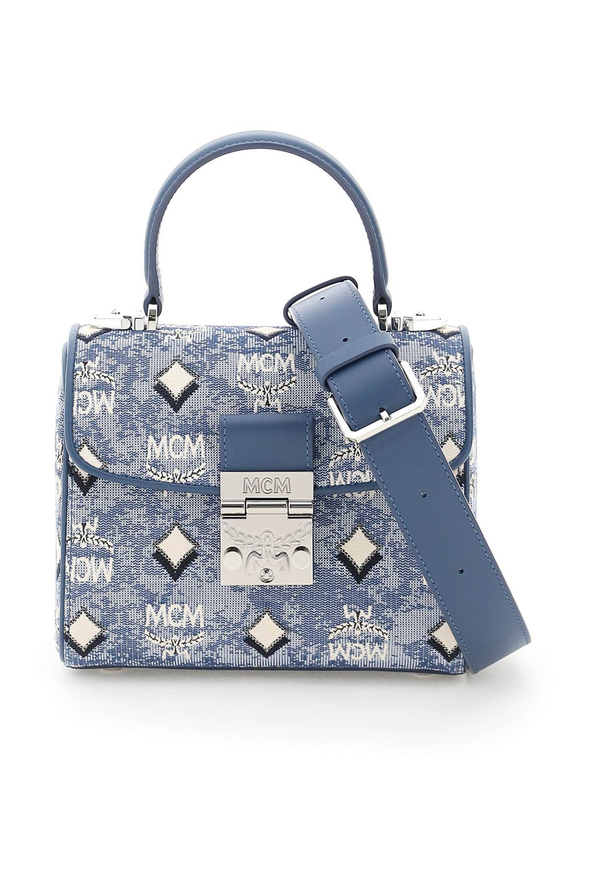 mcm borsa tracy satchel in jacquard vintage monogram os blu, grigio, nero cotone, pelle