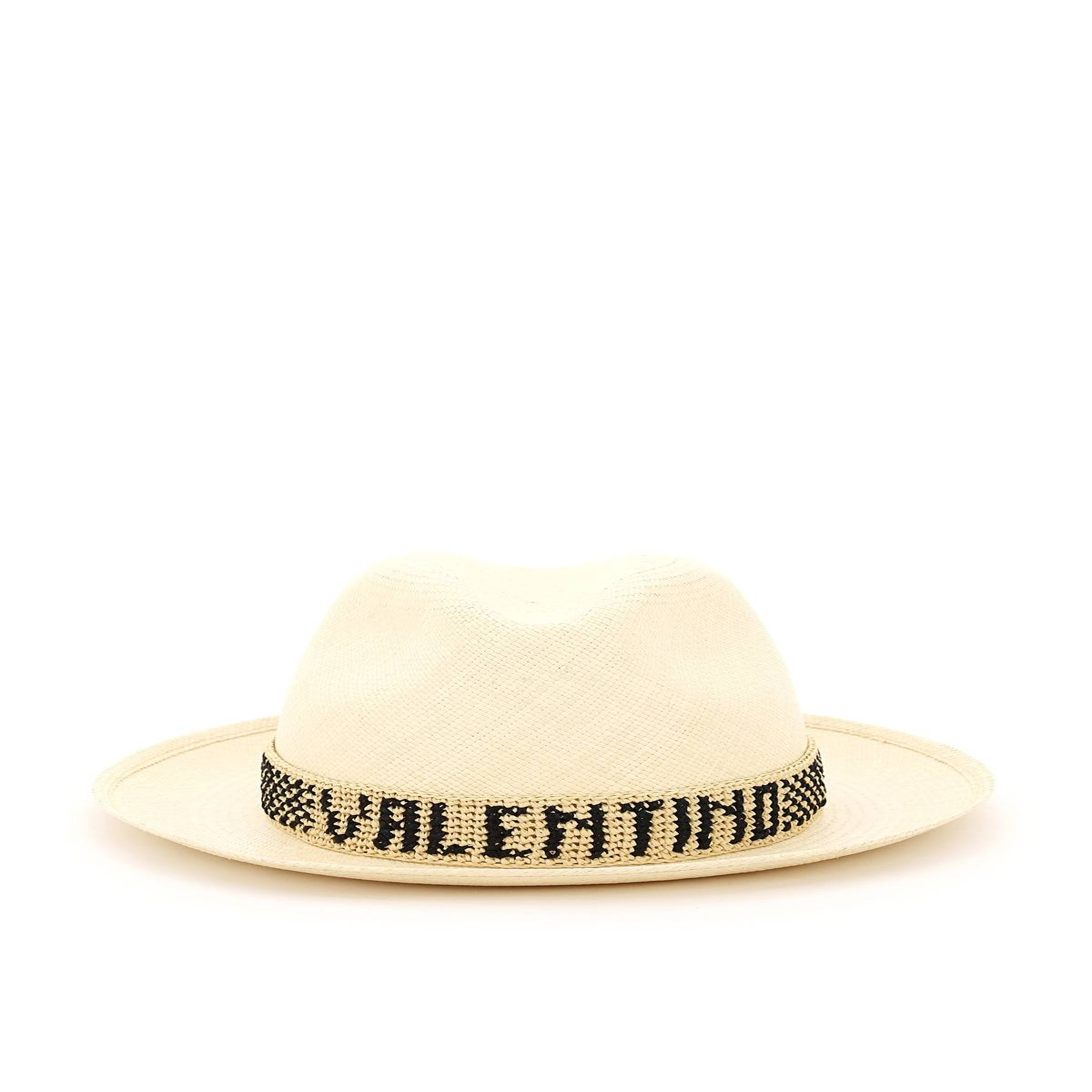 valentino garavani cappello fedora in paglia borsalino x valentino m beige, nero
