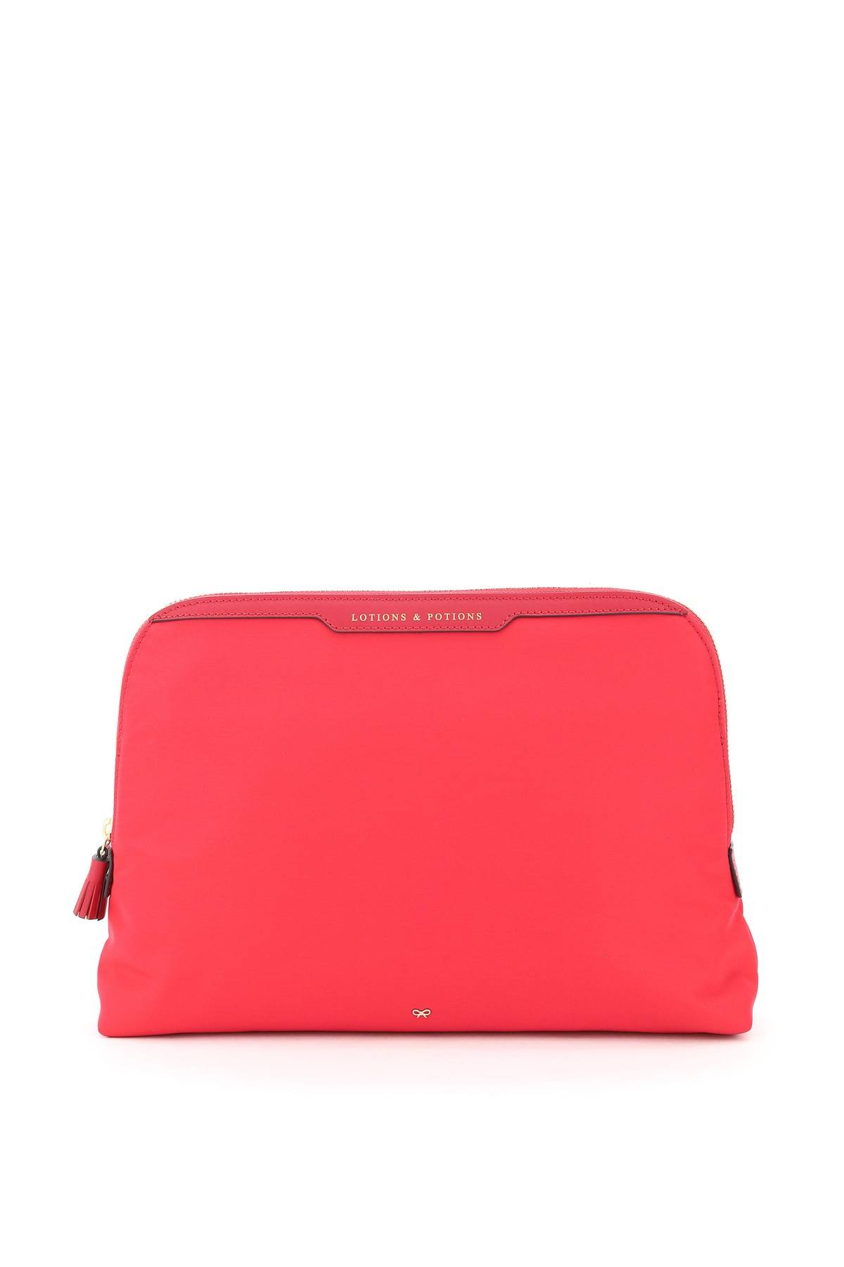 anya hindmarch pouch lotions and potions os fuxia, rosa tecnico, pelle
