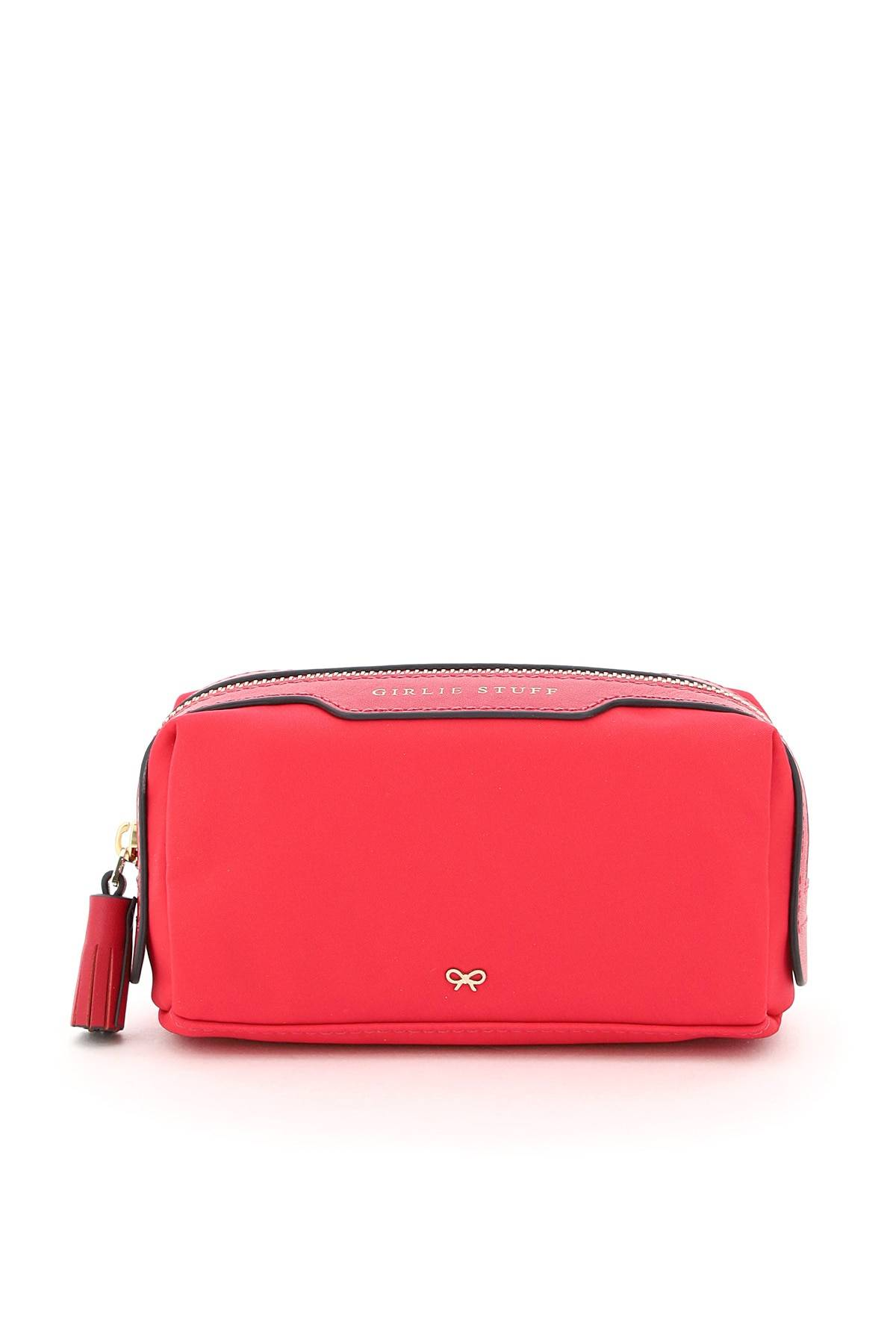 anya hindmarch pouch in nylon girlie stuff os fuxia, rosa pelle, tecnico