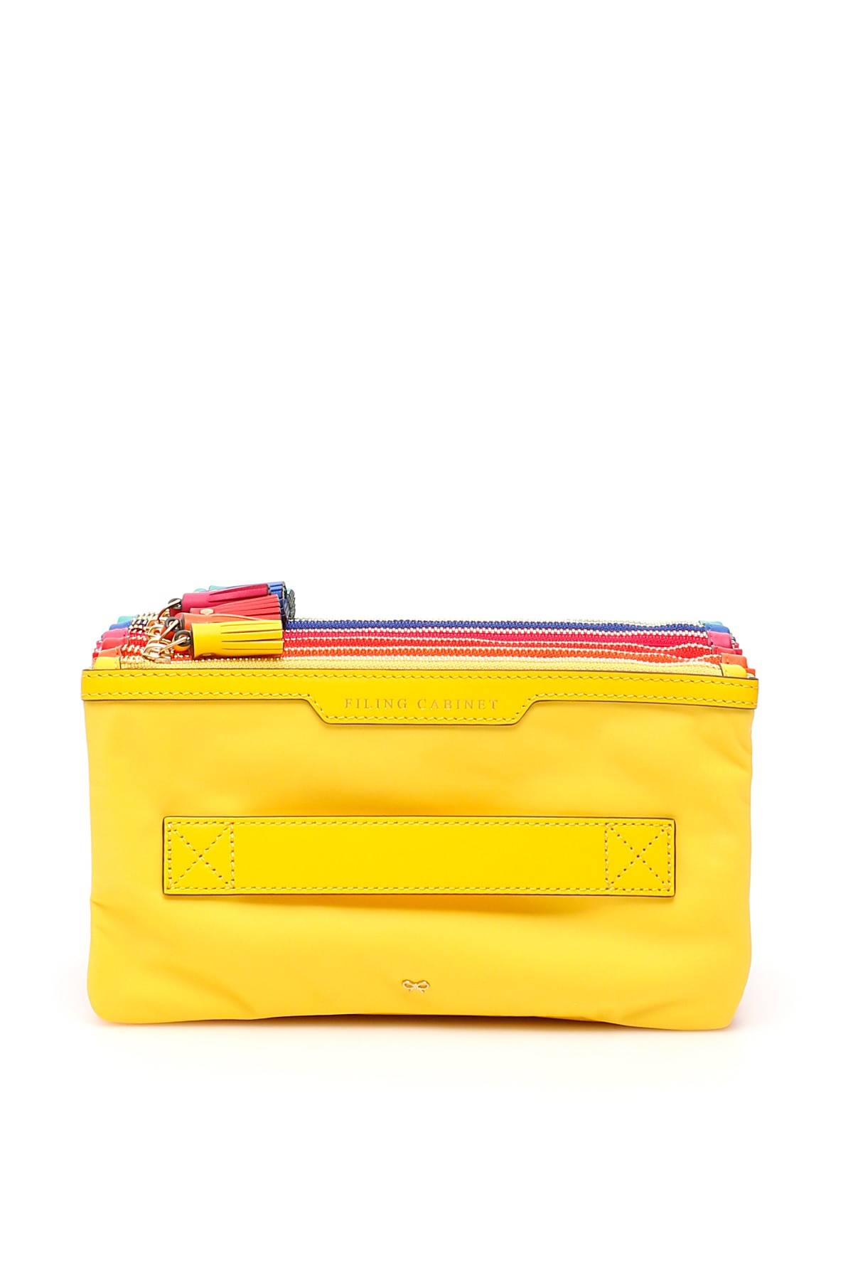 anya hindmarch pouch filing cabinet multi pocket os giallo, fuxia, blu tecnico, pelle