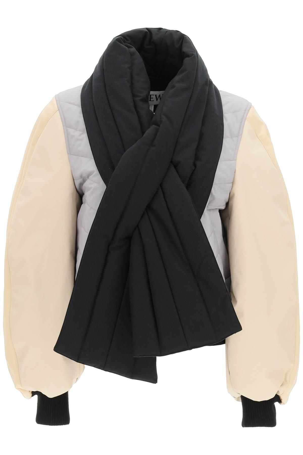 loewe bomber in toile di cotone con sciarpa 36 beige, grigio, nero cotone, pelle