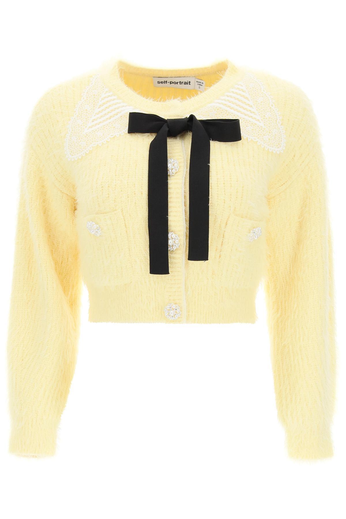 self portrait cardigan con colletto guipure e bottoni gioiello s giallo cotone, lana