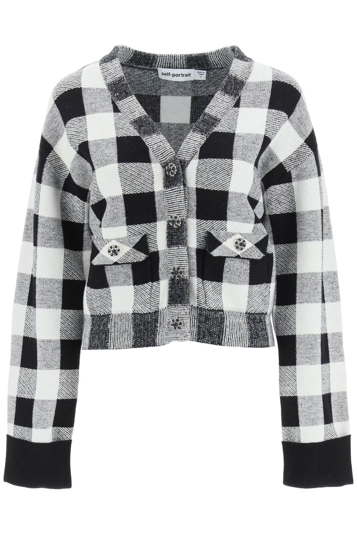self portrait cardigan check con bottoni gioiello l bianco, nero cotone, lana