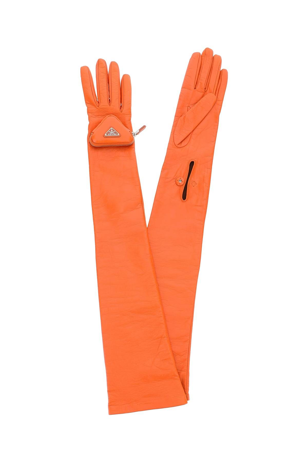 prada guanti lunghi in nappa con pouch 6,5 arancio pelle